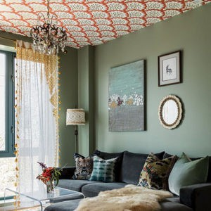 Living Room with Textured Ceiling